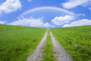 <Office Carlino WEBサイトのトップ画面 「あなたの行く道の先には虹が…」>
